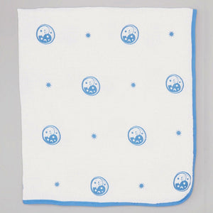 Double Layer Muslin Swaddling Blanket - White with Blue Moons