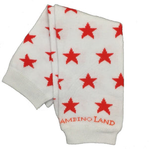 White with Red Stars Baby Leg Warmers