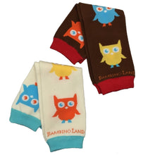 Load image into Gallery viewer, 2 Pack Owls Multi Colored and Brown Baby Leg Warmers