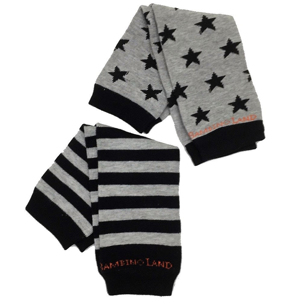 2 Pack - Stars & Stripes Grey and Black Baby Leg Warmers