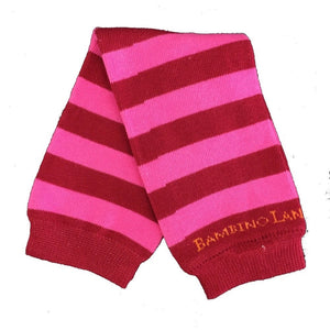 Red & Pink Stripes Baby Leg Warmers