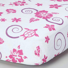 Load image into Gallery viewer, Pink Hawaiian Muslin Crib Sheet