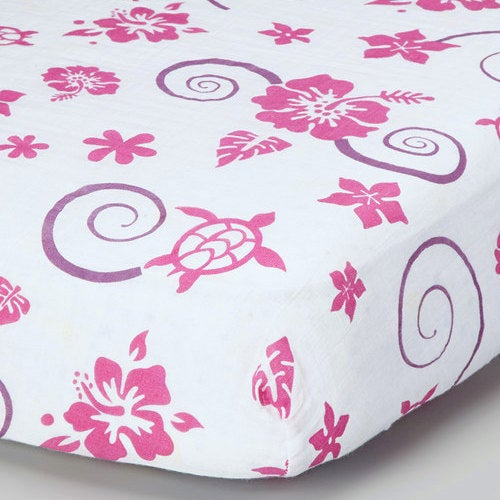 Pink Hawaiian Muslin Crib Sheet