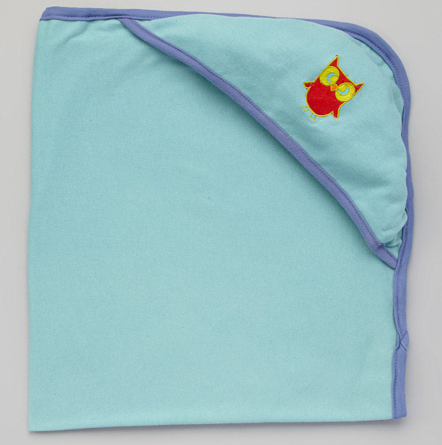 Hooded Bath Blanket - Aqua w/Deep Blue Trim with Owl embroidery
