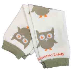 Beige & White Owls Baby Leg Warmers