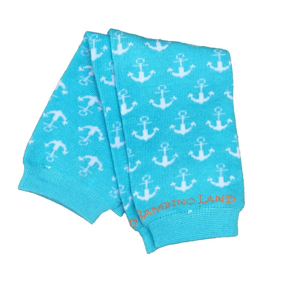 Anchors Teal Baby Leg Warmers