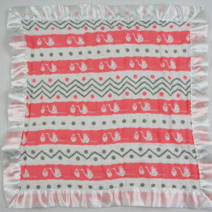 "Small Satin Trimmed 2-layer Snuggle Blanket, Lovey (15""X15"") - Storks with Chevron Stripes"