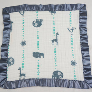"Small Satin Trimmed 2-layer Snuggle Blanket, Lovey (15""X15"") - Blue Jungle Animals"
