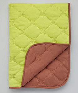 Lime/Brown Reversible Baby Quilt, toddler blanket, tummy time blanket
