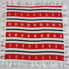 "Load image into Gallery viewer, Small Satin Trimmed 2-layer Snuggle Blanket, Lovey (15""X15"") - Red and Black Nautical Stripes"