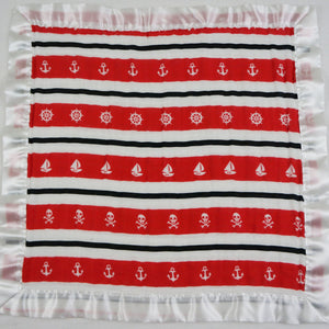 "Small Satin Trimmed 2-layer Snuggle Blanket, Lovey (15""X15"") - Red and Black Nautical Stripes"