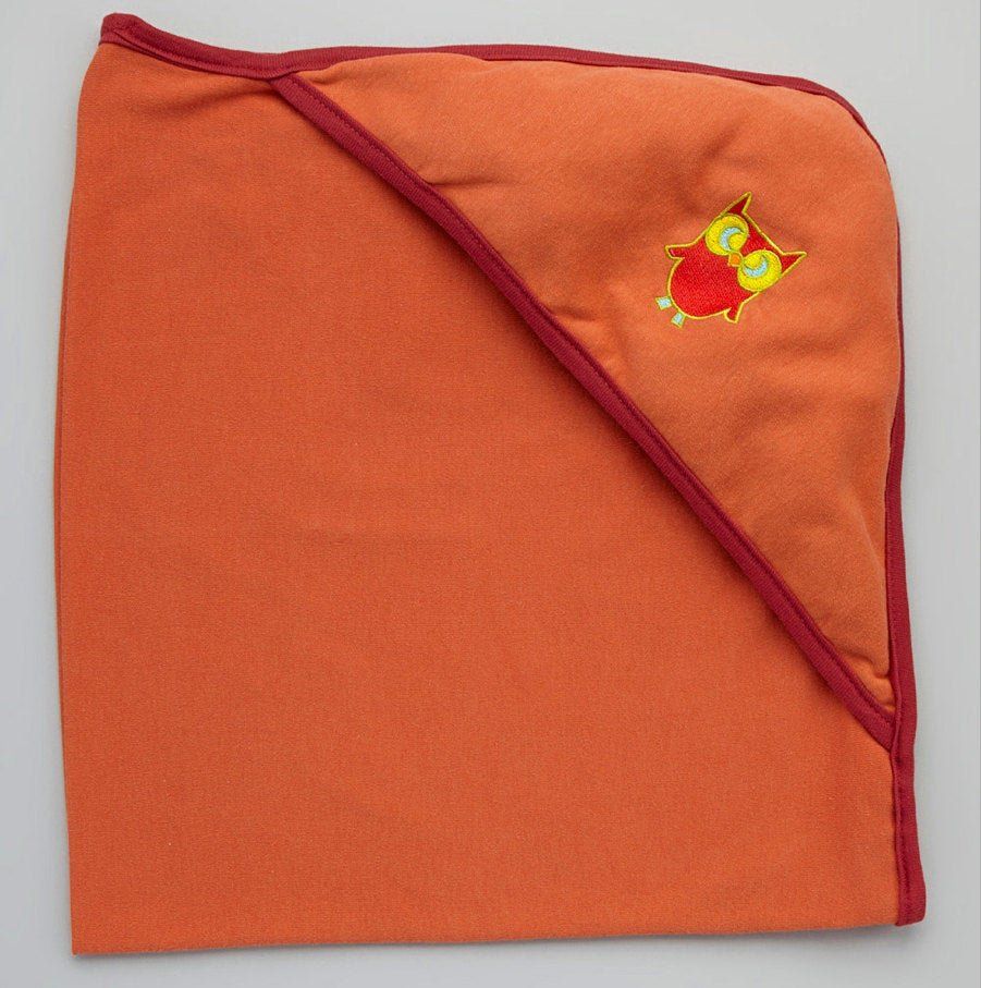 Hooded Bath Blanket - Orange Ginger w/ Earth Red Trim with Owl embroidery