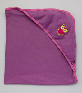 Hooded Bath Blanket - Violet w/ Rosebud Trim with Owl embroidery