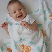 "Load image into Gallery viewer, Teal Goldfish Muslin Swaddle Blanket: made with 100% Organic Cotton Muslin. (extra large 47""x47"")"