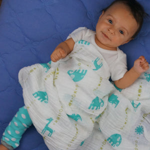 "Double Layer Muslin Blanket 47""x47"" (swaddling blanket or toddler blanket) -  teal jungle animals"