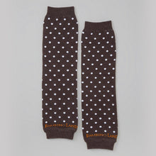Load image into Gallery viewer, Brown with White Dots Baby Leg Warmers