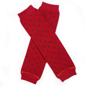 Red with Brown Stars Baby Leg Warmers