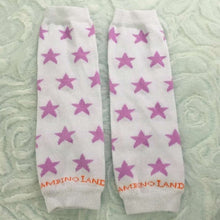 Load image into Gallery viewer, White and Purple Stars Newborn Leg Warmers