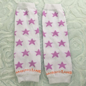 White and Purple Stars Newborn Leg Warmers