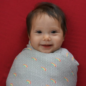 "Rainbow - 1 Single Layer Swaddles 50""x50"" made from Bamboo, muslin, nursing cover, large size light weight blanket"