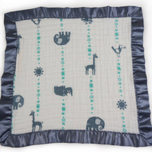 "Load image into Gallery viewer, Small Satin Trimmed 2-layer Snuggle Blanket, Lovey (15""X15"") - Blue Jungle Animals"