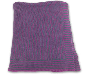 Soft Knit Baby Blanket -Plum and Blue Denim