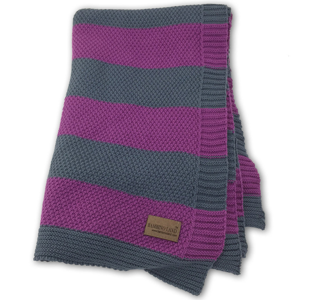 Knit Baby Blanket - Plum and Gray Stripes
