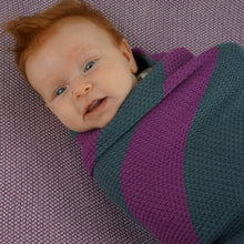 Load image into Gallery viewer, Knit Baby Blanket - Plum and Gray Stripes