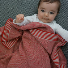 Load image into Gallery viewer, Soft Knit Baby Blanket - Red & Taupe
