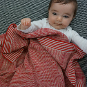 Soft Knit Baby Blanket - Red & Taupe