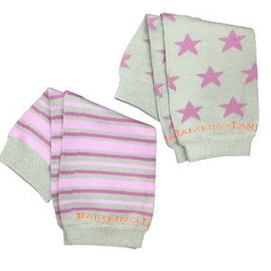 2 Pack - Gray and Purple Stars and Stripes Newborn  Baby Leg Warmer