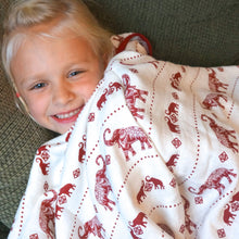 Load image into Gallery viewer, Red Elephants Muslin Swaddle Blanket