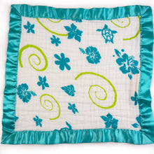 "Load image into Gallery viewer, Small Satin Trimmed 2-layer Snuggle Blanket, Lovey (15""X15"") - Teal Hawaiian"