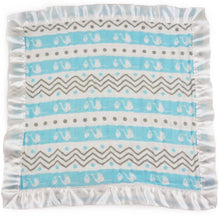 "Load image into Gallery viewer, Small Satin Trimmed 2-layer Snuggle Blanket, Lovey (15""X15"") - Stork Blue and Chevron Stripes"