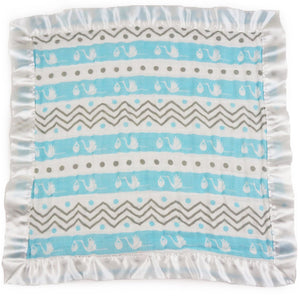 "Small Satin Trimmed 2-layer Snuggle Blanket, Lovey (15""X15"") - Stork Blue and Chevron Stripes"