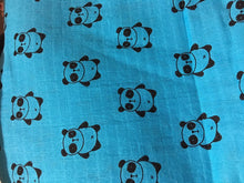 "Load image into Gallery viewer, Teal Pandas 2-layer Big Bambino: made with 100% Organic Cotton Muslin. (extra large 60""x72"") for older kids & adults"