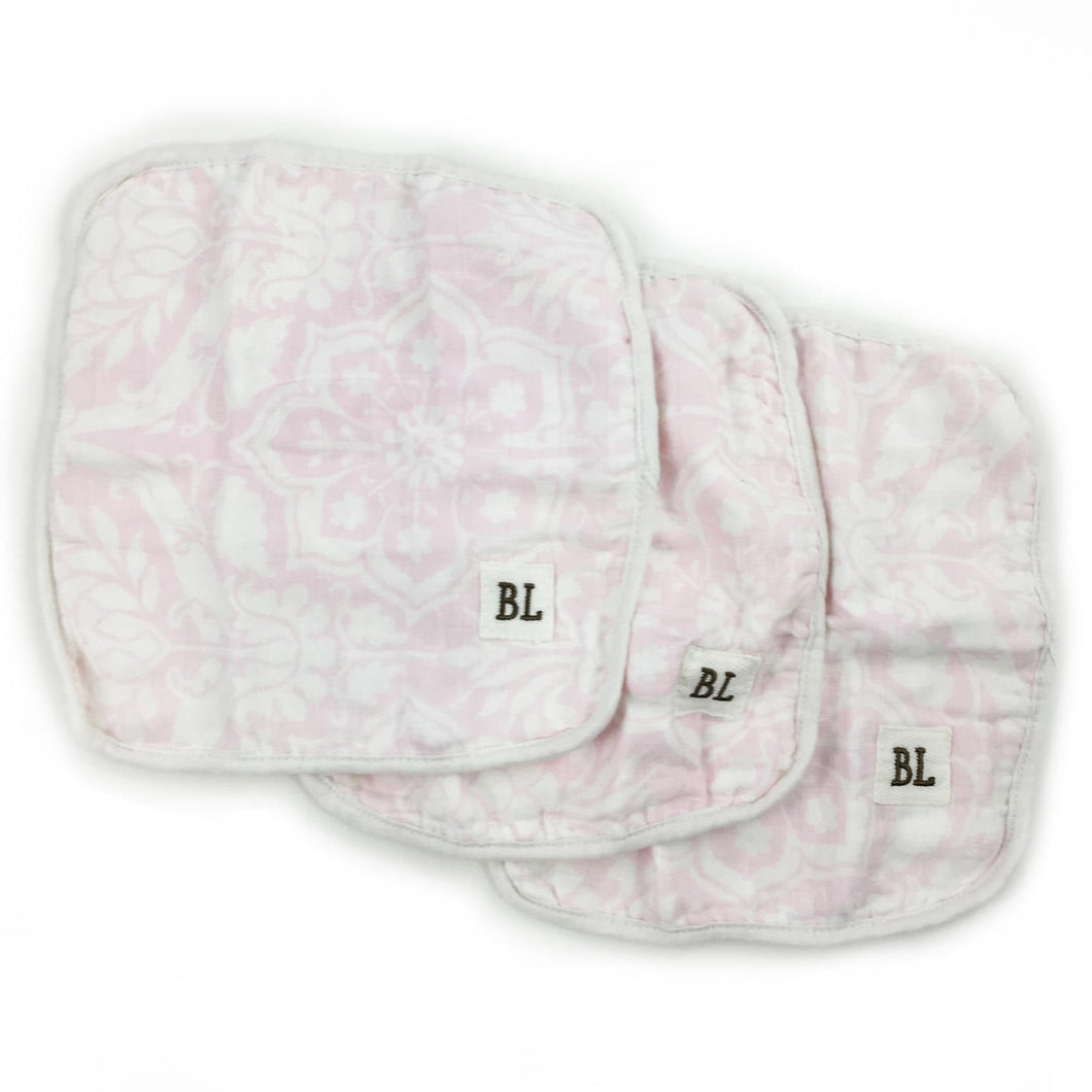 3 pack Muslin Wash Cloths, made from organic cotton - Pink Floral - 4 layers of soft muslin