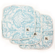 Load image into Gallery viewer, 3 pack Muslin Wash Cloths, made from organic cotton - Blue Floral - 4 layers of soft muslin