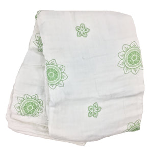 Double Layer Muslin Swaddling Blanket - Green Zen Flowers