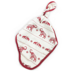 Red Elephants Knot Blanket, Security Blanket
