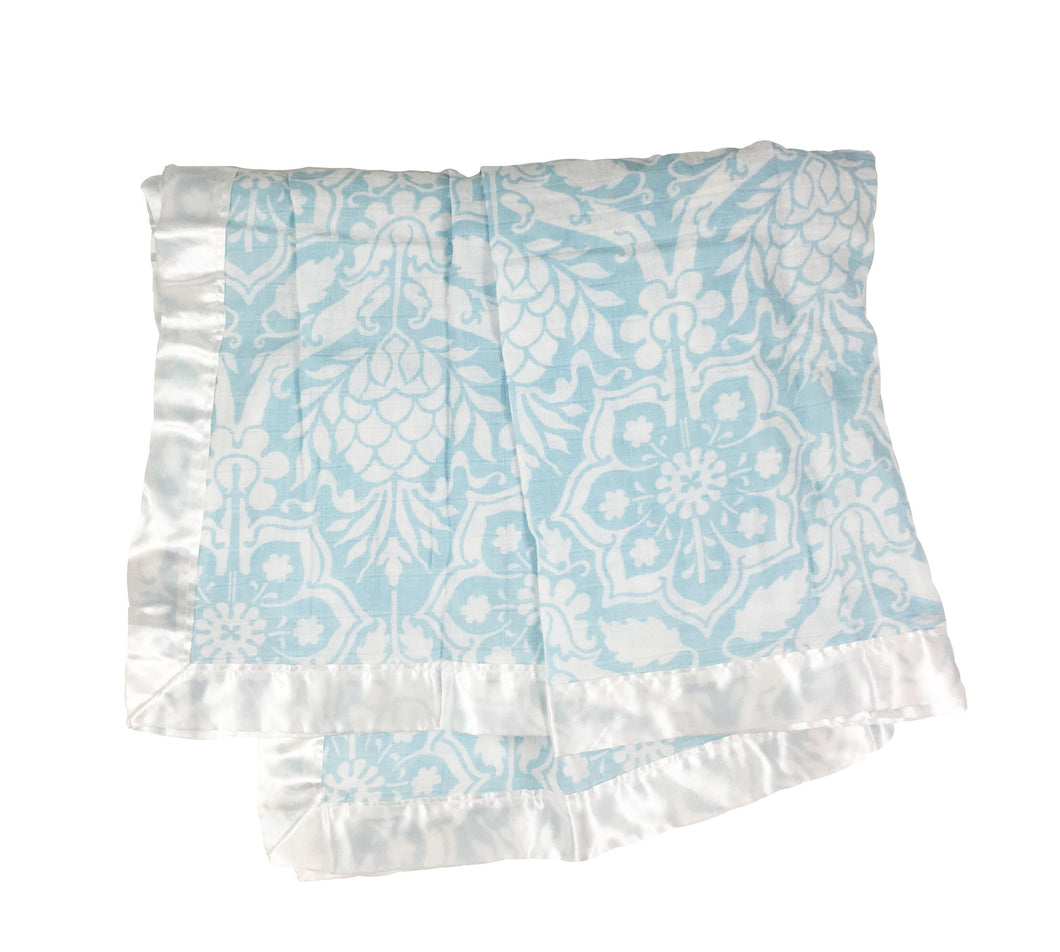 Blue Floral Satin Trimmed Muslin Swaddle Blanket
