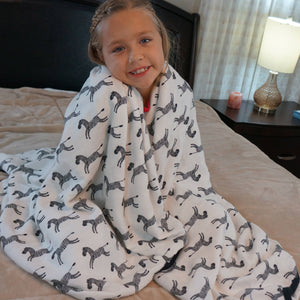 "ZEBRA Big Double Layer Blankets, kids & adults 60""x70"" made from Bamboo, muslin, large size light weight, throw, travel blanket"
