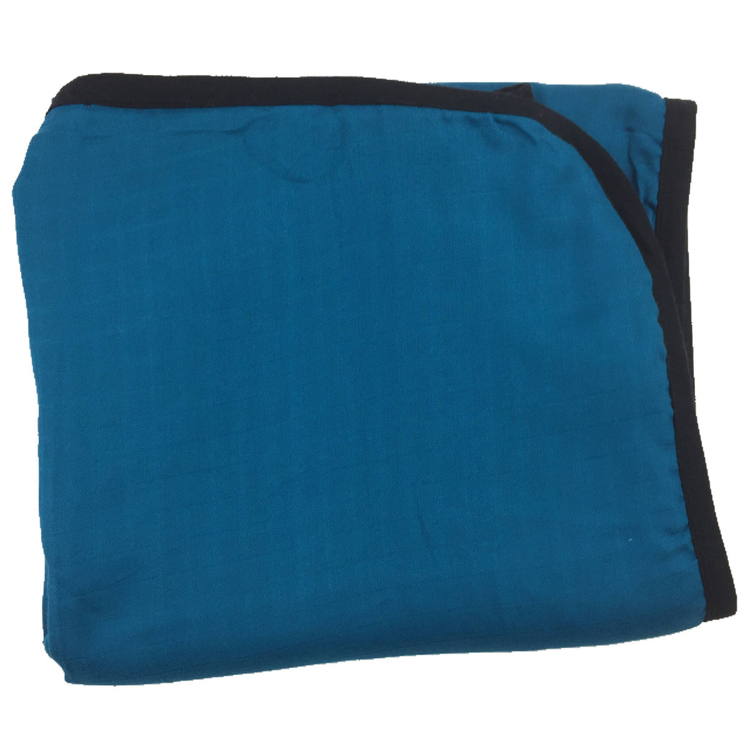 TEAL with Black Trim Big Double Layer Blankets, kids & adults 60