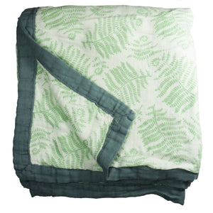 Fern Cozy Baby Blanket - 3 layers of soft muslin, made from bamboo/cotton blend. Great for swaddling, nursing cover, travel blanket and more