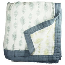 Load image into Gallery viewer, Triangles Baby Blanket - 3 layers of soft muslin, bamboo/cotton blend. Great for swaddling, nursing cover, travel blanket and more