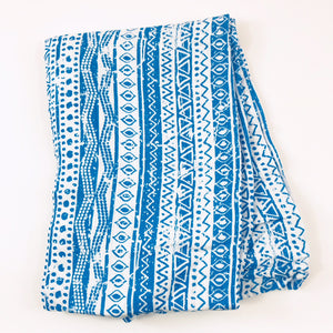 Blue Geometric Muslin Swaddle Blanket