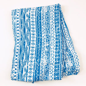 Blue Geometric Swaddle 1 pack - soft muslin, bamboo/cotton blend. Great for swaddling, nursing cover, travel blanket and more
