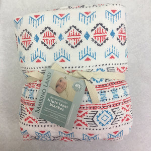 Southwestern Baby Blanket - 3 layers of soft muslin, bamboo/cotton blend. Great for swaddling, nursing cover, travel blanket and more