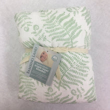 Load image into Gallery viewer, Fern Cozy Baby Blanket - 3 layers of soft muslin, made from bamboo/cotton blend. Great for swaddling, nursing cover, travel blanket and more