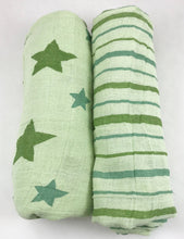 Load image into Gallery viewer, Star and Stripes Green Muslin Swaddle Set (2 pack of blankets) Light weight guaze style wrap